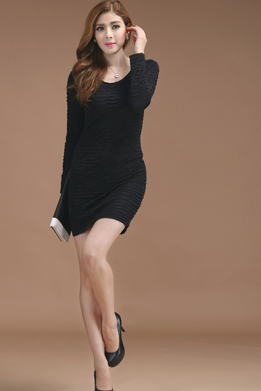 bbb3bbc0ba WOMEN SLIM PLAID PATTERN FULL SLEEVES DRESS BLACK – Unomatch Shop
