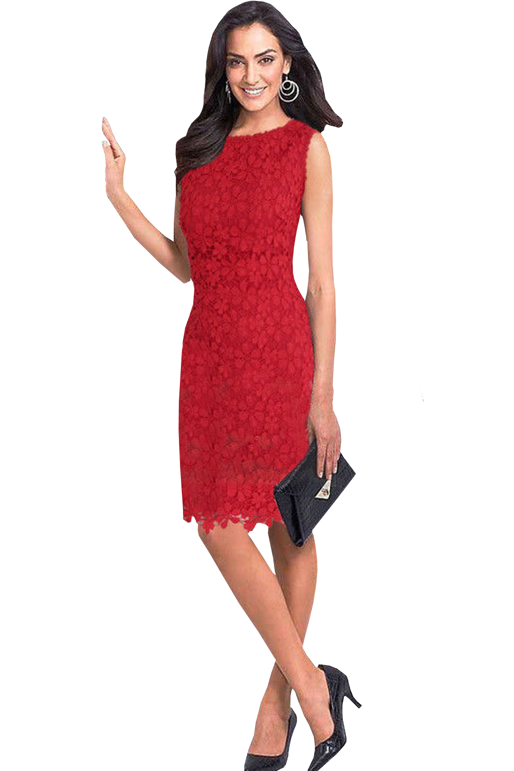 463e42ef979 WOMENS SUMMER LACE SLEEVELESS PENCIL STYLE DRESS RED – Unomatch Shop