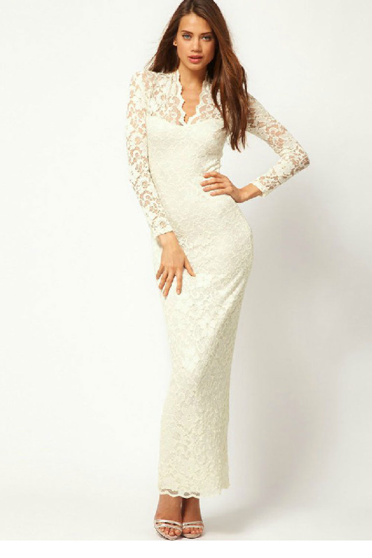642b2ddaafaf4a WOMENS V-NECK LONG-SLEEVED FULL LENGTH DRESS WHITE – Unomatch Shop