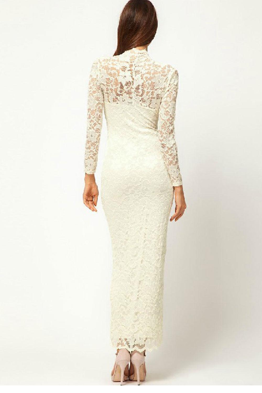 Белые платья с кружевом длинные